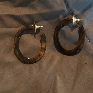 Black and brown hoop earrings
